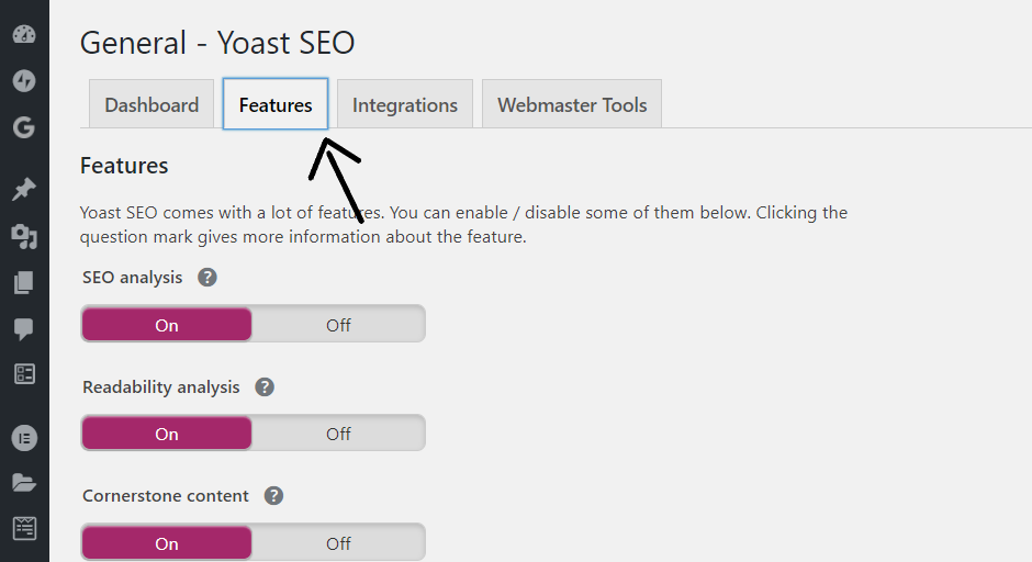 click Features tab