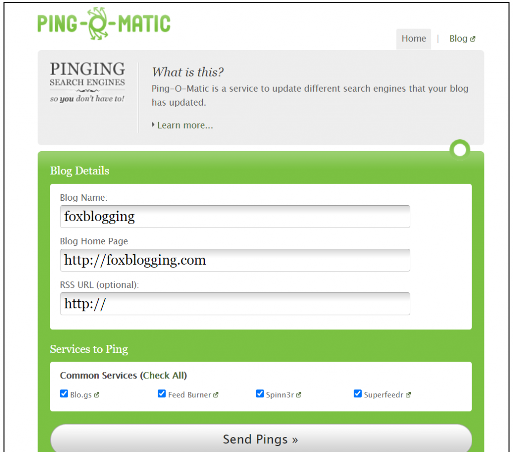 Ping service - For fastly index the blog post