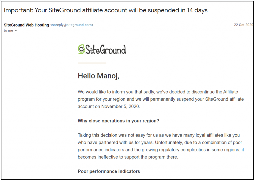 siteground affiliate account will be suspended - Email