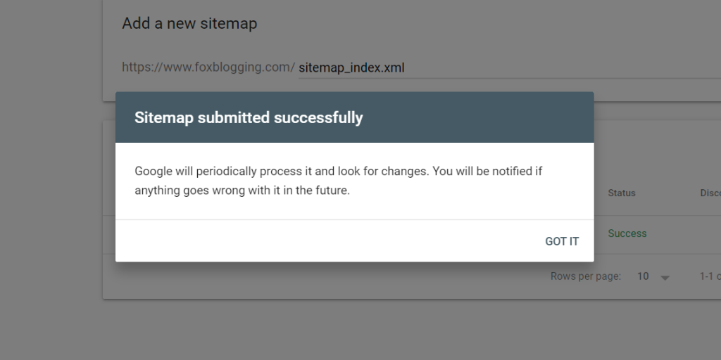 SItemap submitted successfully