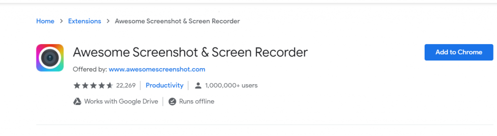 Chrome extension screenshot taking software