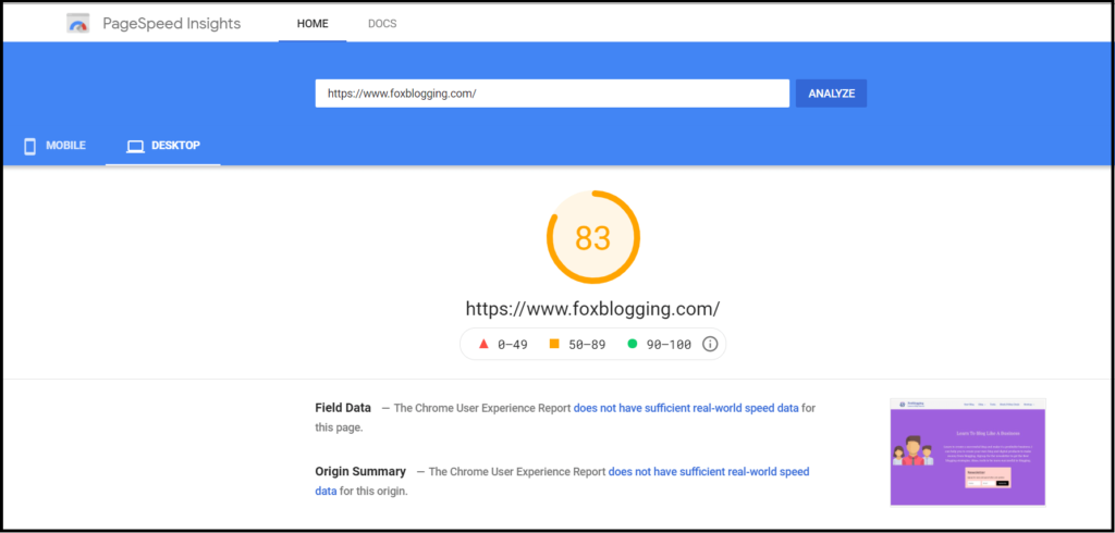 Siteground hosting speed - Google page speed