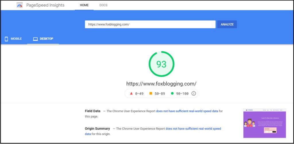Hostinger speedtest - Google page speed