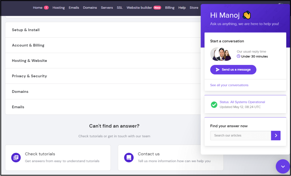 Hostinger hosting customer support