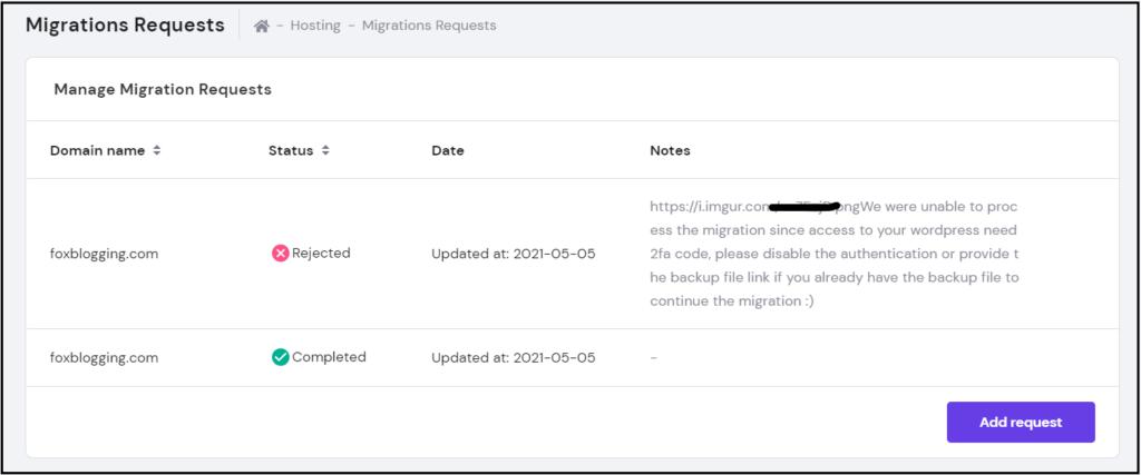 Reason for migration failure on Hostinger