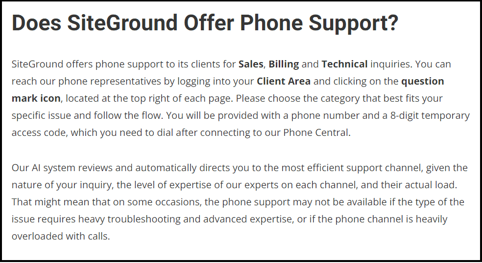 Siteground hosting phone