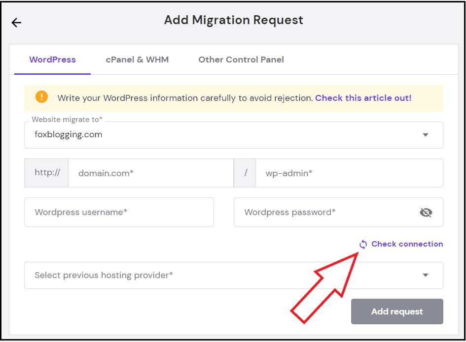 Enter Details on Website migration request