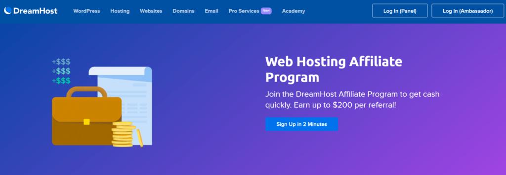 Join DreamHost affiliate program