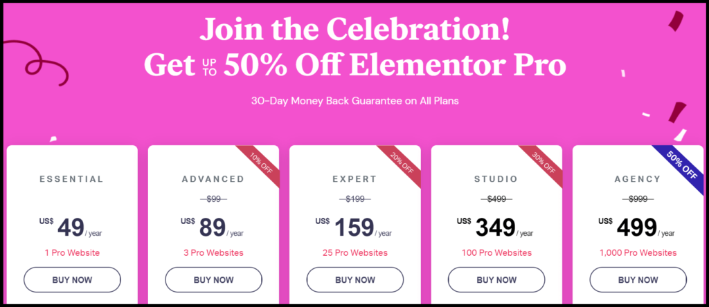Elementor Pricing with discounts