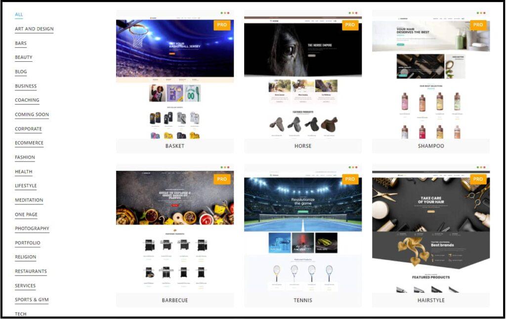 OceanWP theme site demo templates