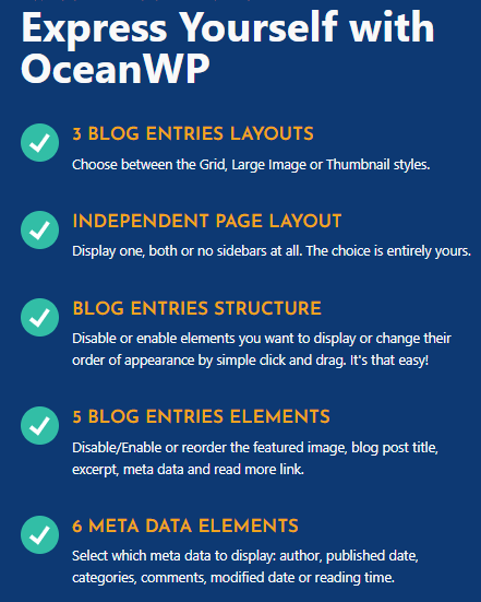 OceanWP theme blog layouts and meta elements