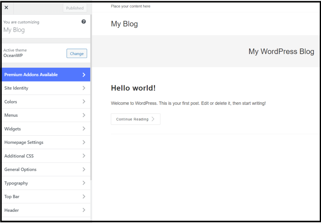 OceanWP theme WordPress Customizer settings