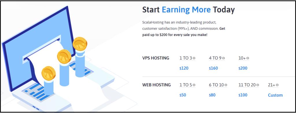 Scala hosting affiliate commission rates